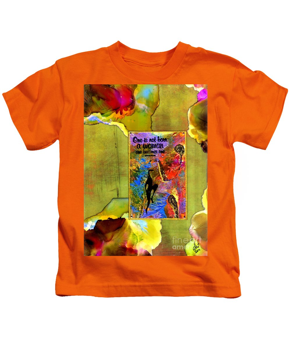 Wood Kids T-Shirt featuring the mixed media Becoming A Woman by Angela L Walker
