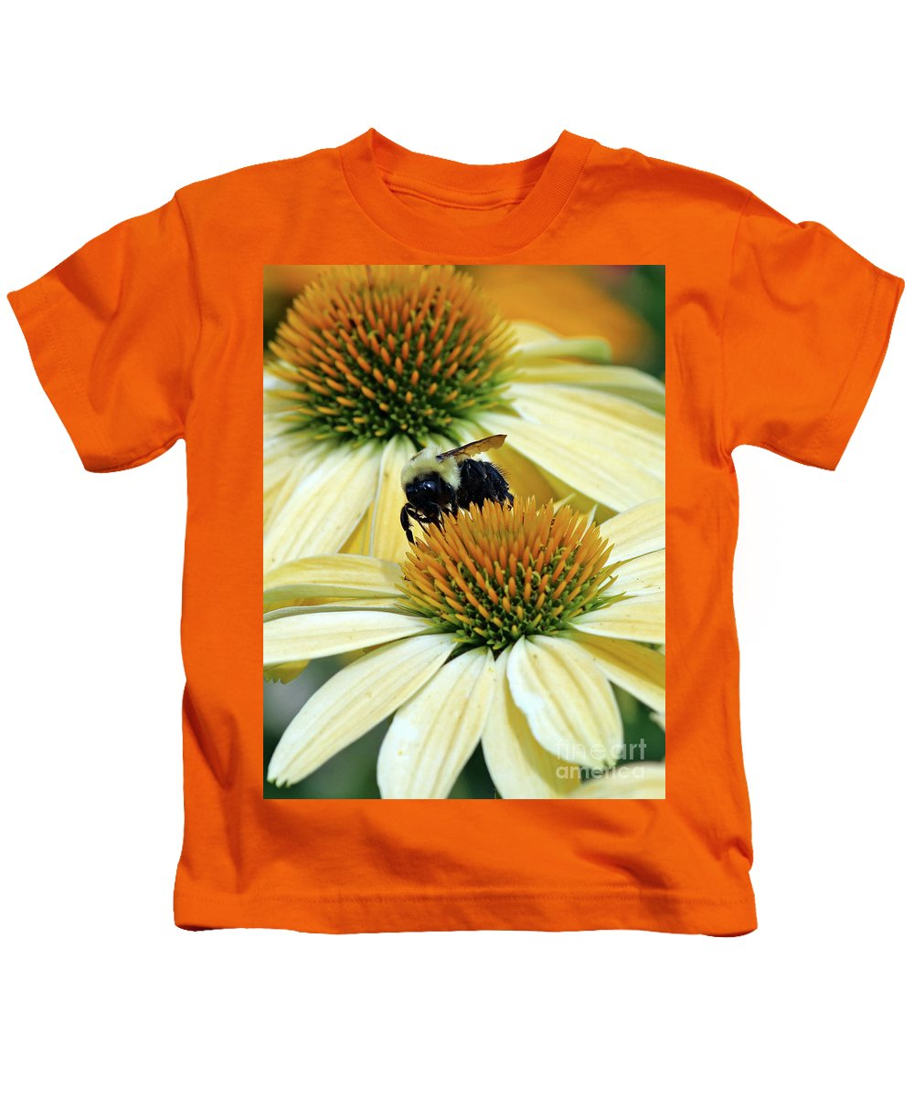 Flowers Kids T-Shirt featuring the photograph Bee Buzzer by Steve Gass