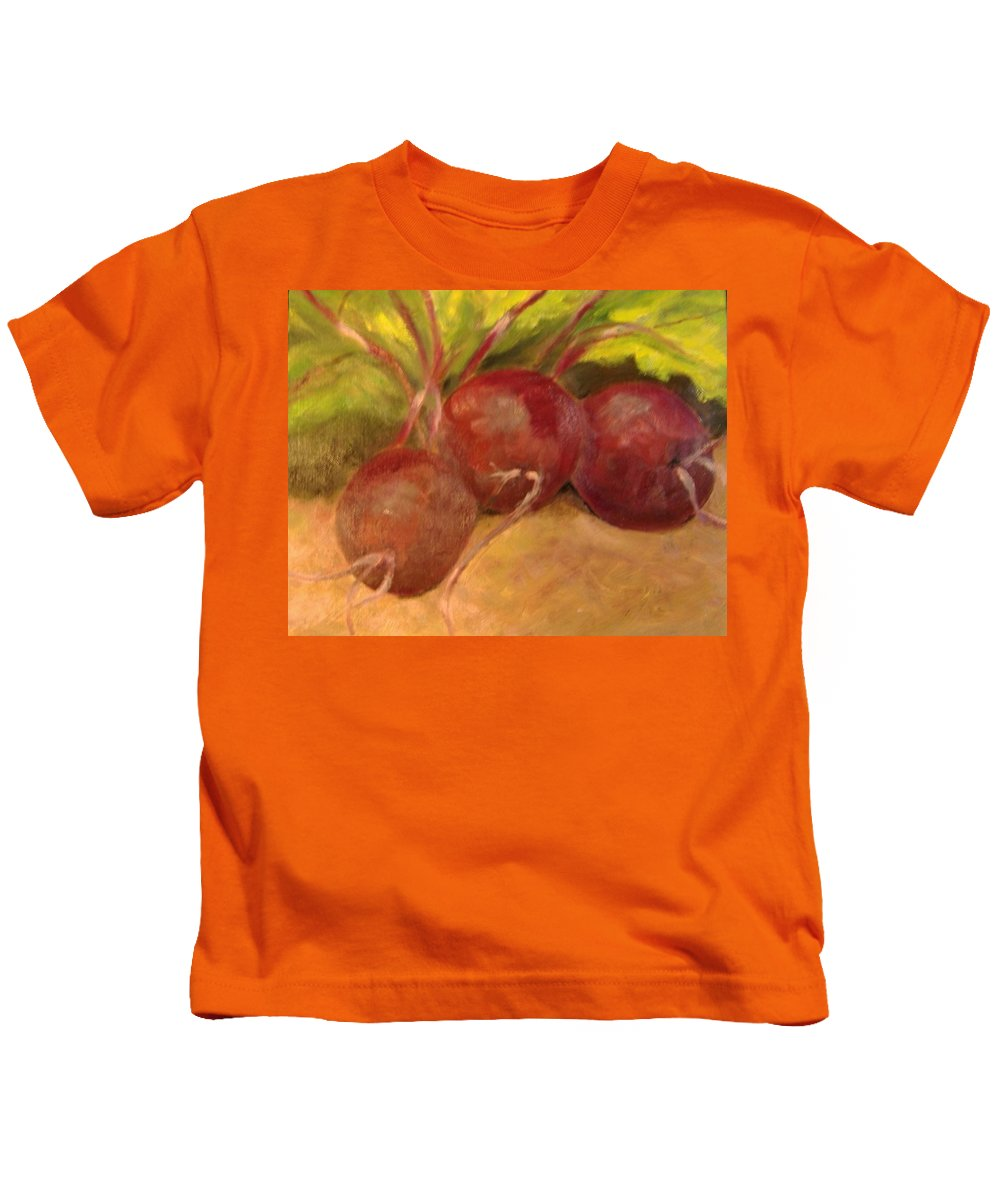 Vegtables Kids T-Shirt featuring the painting Beet It by Pat Snook