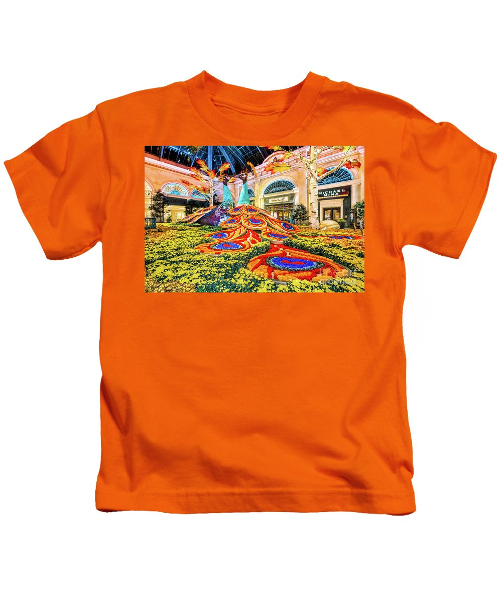 Bellagio Conservatory Kids T-Shirt featuring the photograph Bellagio Conservatory Fall Peacock Display Side View Wide 2017 by Aloha Art