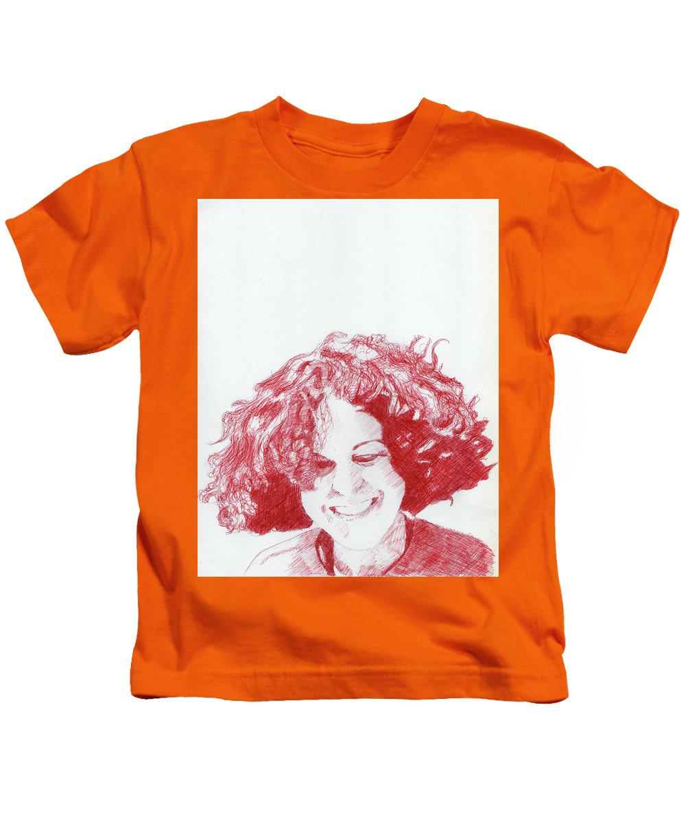 Portrait Kids T-Shirt featuring the drawing Benedicte by Richard Long