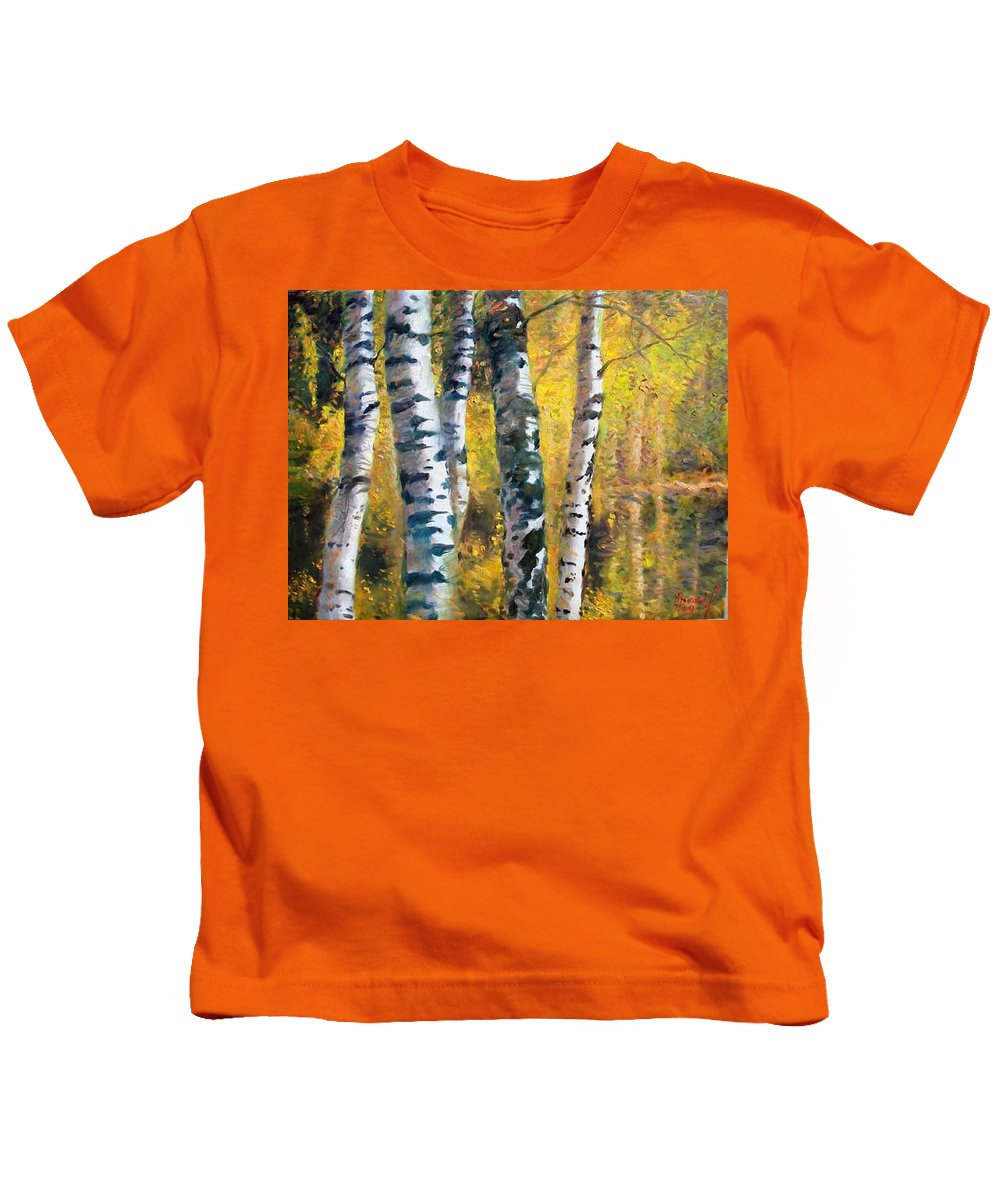 Landscape Kids T-Shirt featuring the painting Birch Trees In Golden Fall by Ylli Haruni