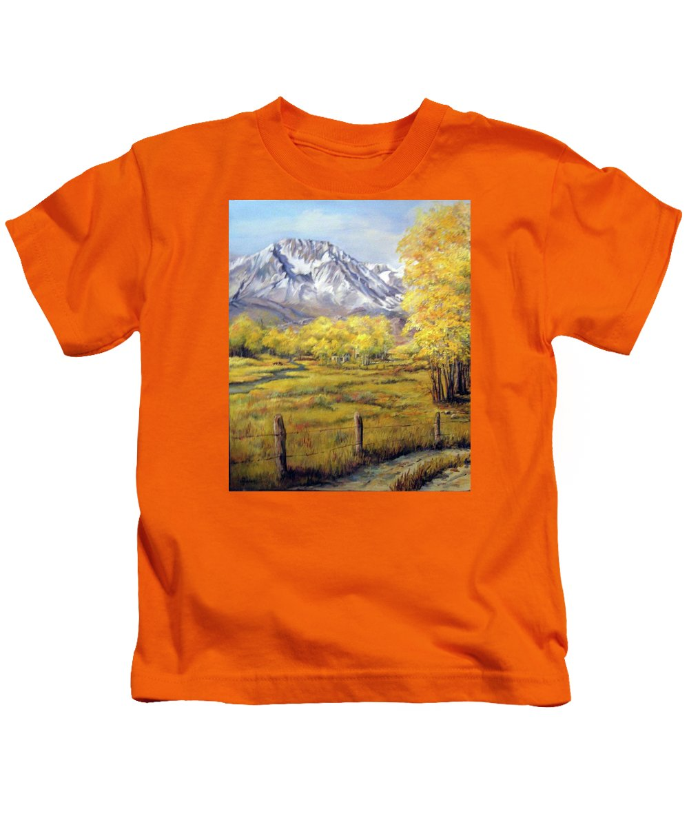 Nature Kids T-Shirt featuring the painting Bishop In The Fall by Donna Tucker
