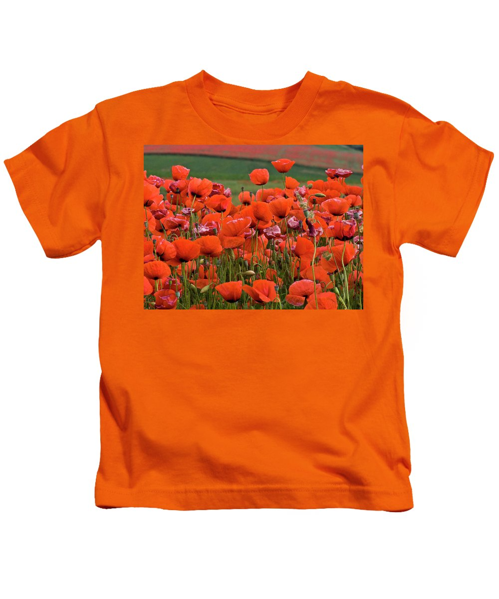 Poppy Kids T-Shirt featuring the photograph Bloom Red Poppy Field by Heiko Koehrer-Wagner