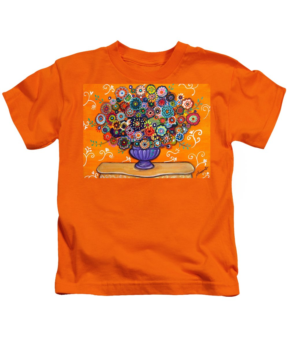 Prisarts Kids T-Shirt featuring the painting Blooms 6 by Pristine Cartera Turkus