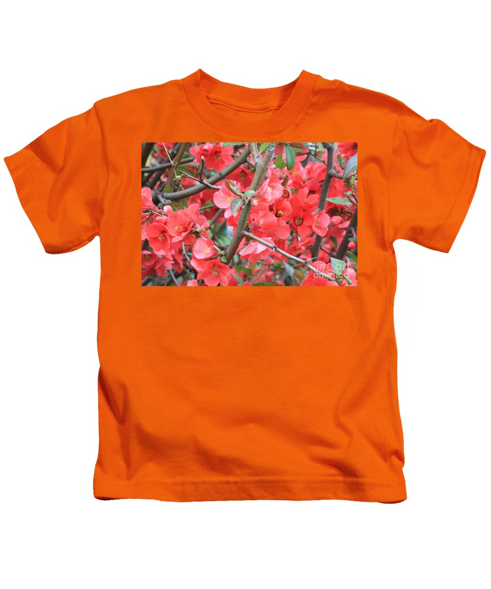Flowering Quince Kids T-Shirt featuring the photograph Blossoms Branches And Thorns by Carol Groenen