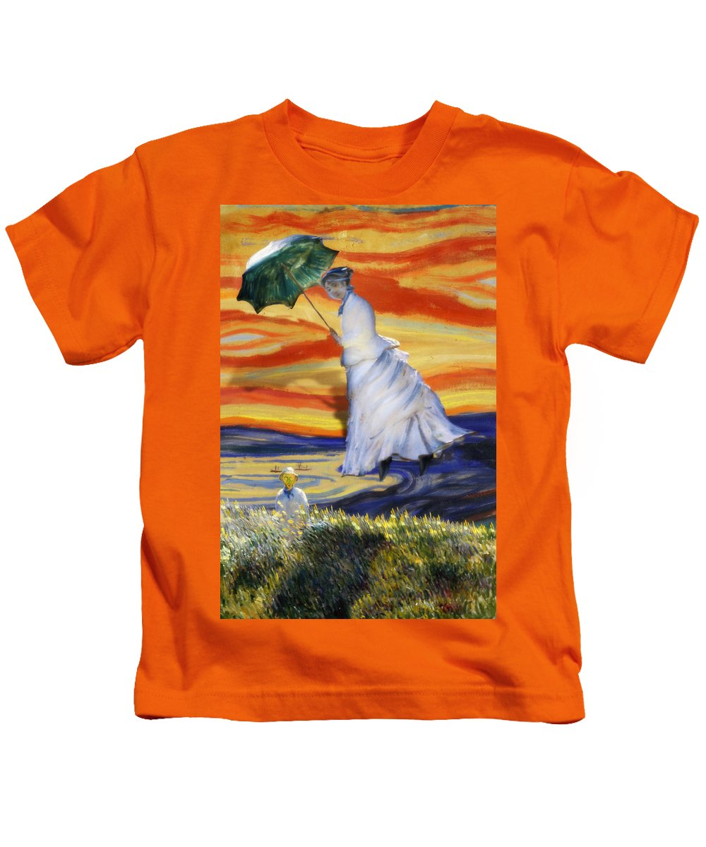 Monet Kids T-Shirt featuring the painting Blown Away From Red Skies by Gravityx9 Designs