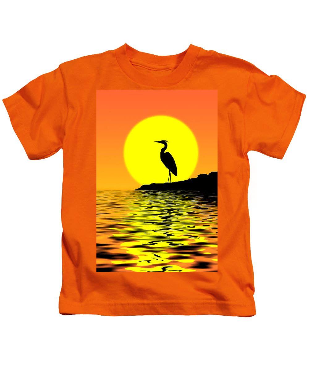 Heron Kids T-Shirt featuring the photograph Blue Heron Sunset by Rich Leighton