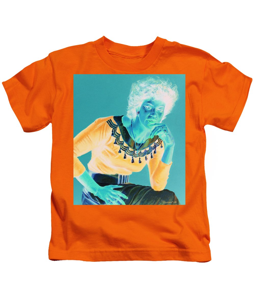 Portrait Kids T-Shirt featuring the painting Bobbi by Jean Hildebrant