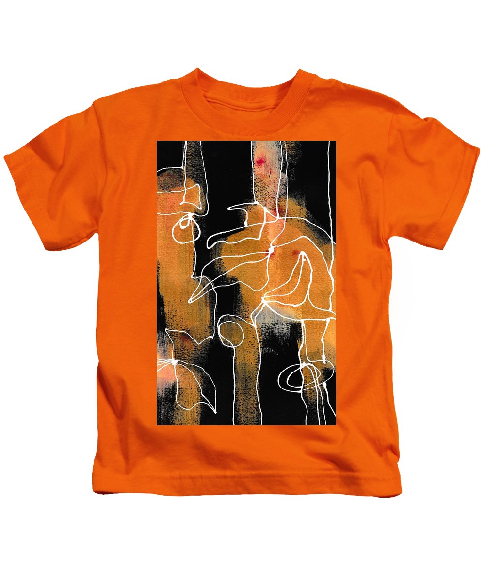 Art Kids T-Shirt featuring the painting Bold White Lines Two by Louise Adams