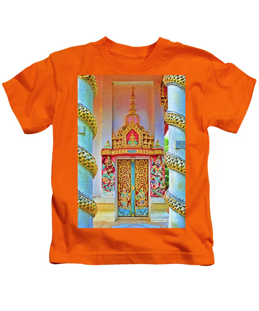 Bophut Kids T-Shirt featuring the photograph Bophut Temple In Thailand by Charlene Mitchell