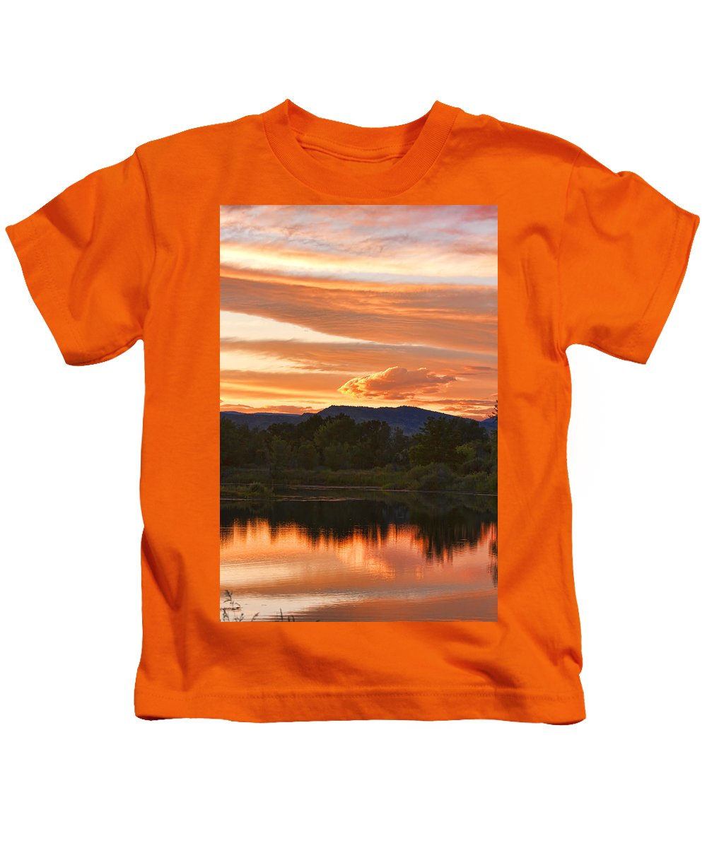 nature Photography Kids T-Shirt featuring the photograph Boulder County Lake Sunset Vertical Image 06.26.2010 by James BO Insogna