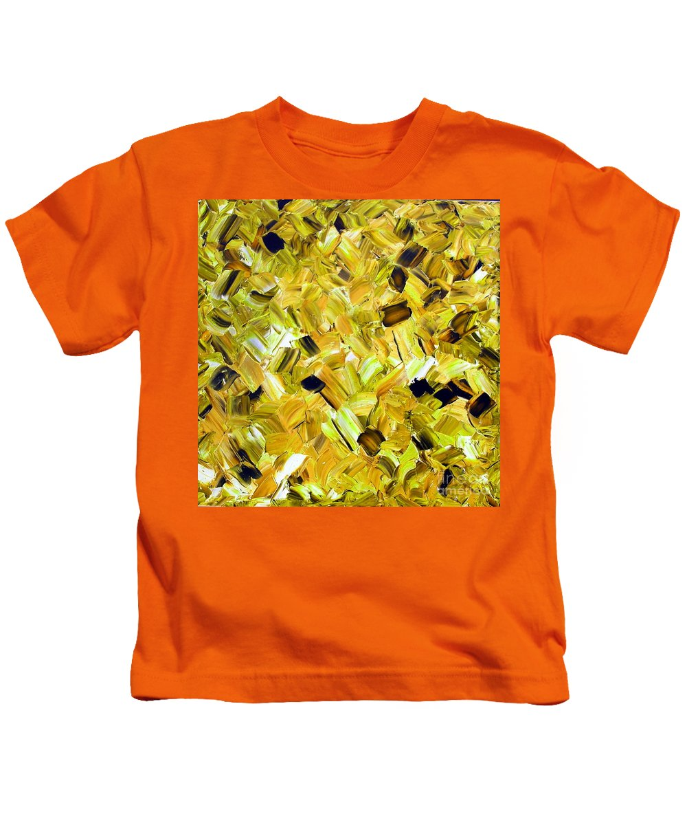 Bouquet Kids T-Shirt featuring the painting Bouquet In Gold by Dawn Hough Sebaugh
