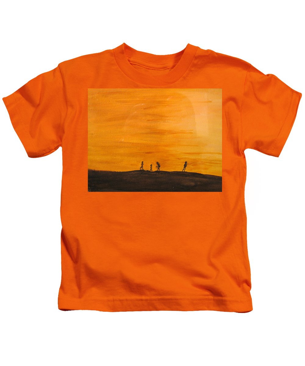 Boys Kids T-Shirt featuring the painting Boys At Sunset by Ian MacDonald