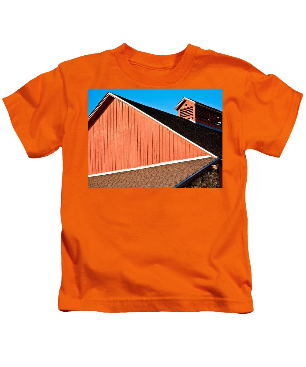 Americana Kids T-Shirt featuring the photograph Bright Red Barn by Marilyn Hunt