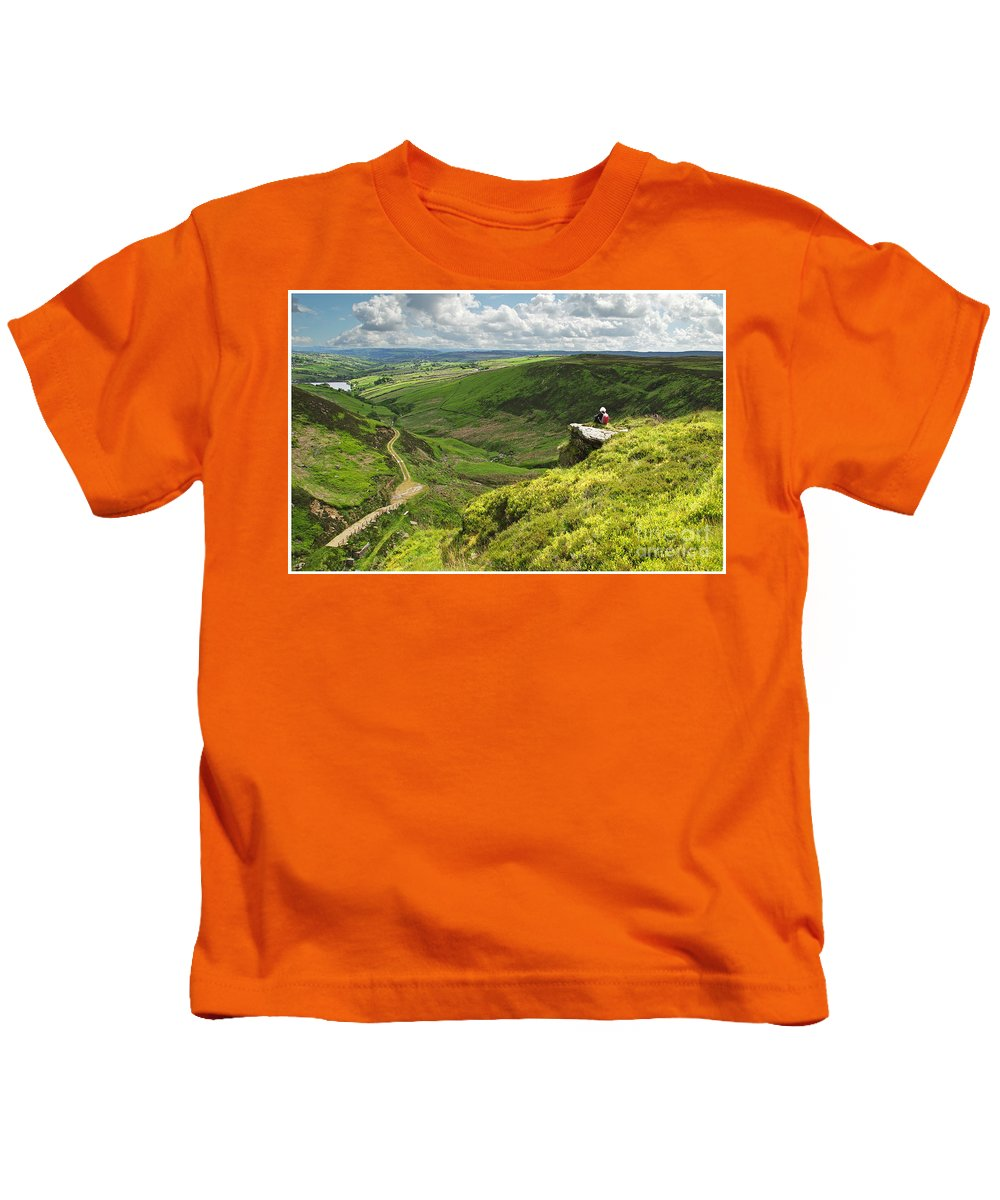 Bronte. Howorth . Yorkshire. England Kids T-Shirt featuring the photograph Bronte Country  Yorkshire England by Bill G Smith