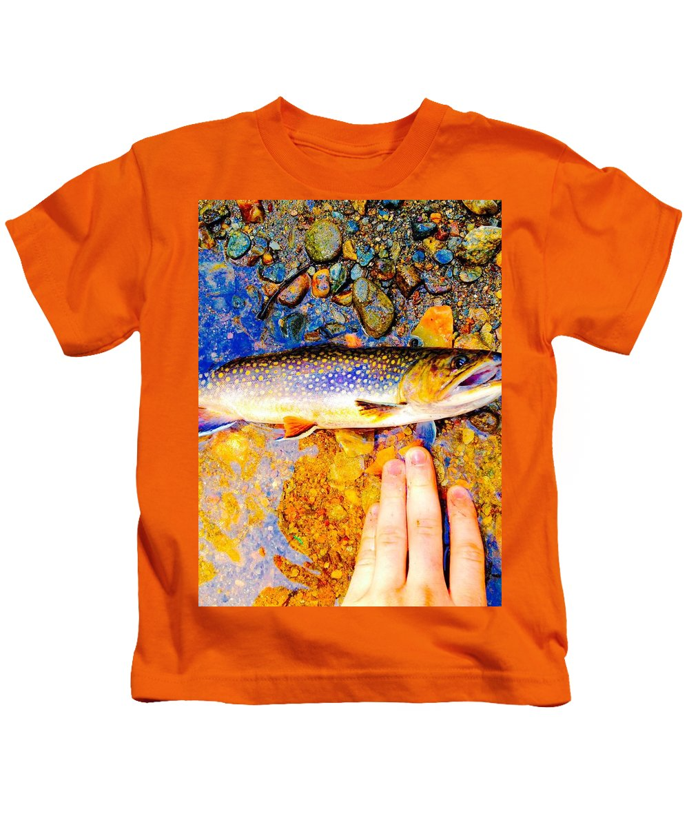 Trout Kids T-Shirt featuring the photograph Brookie by Ty Combs