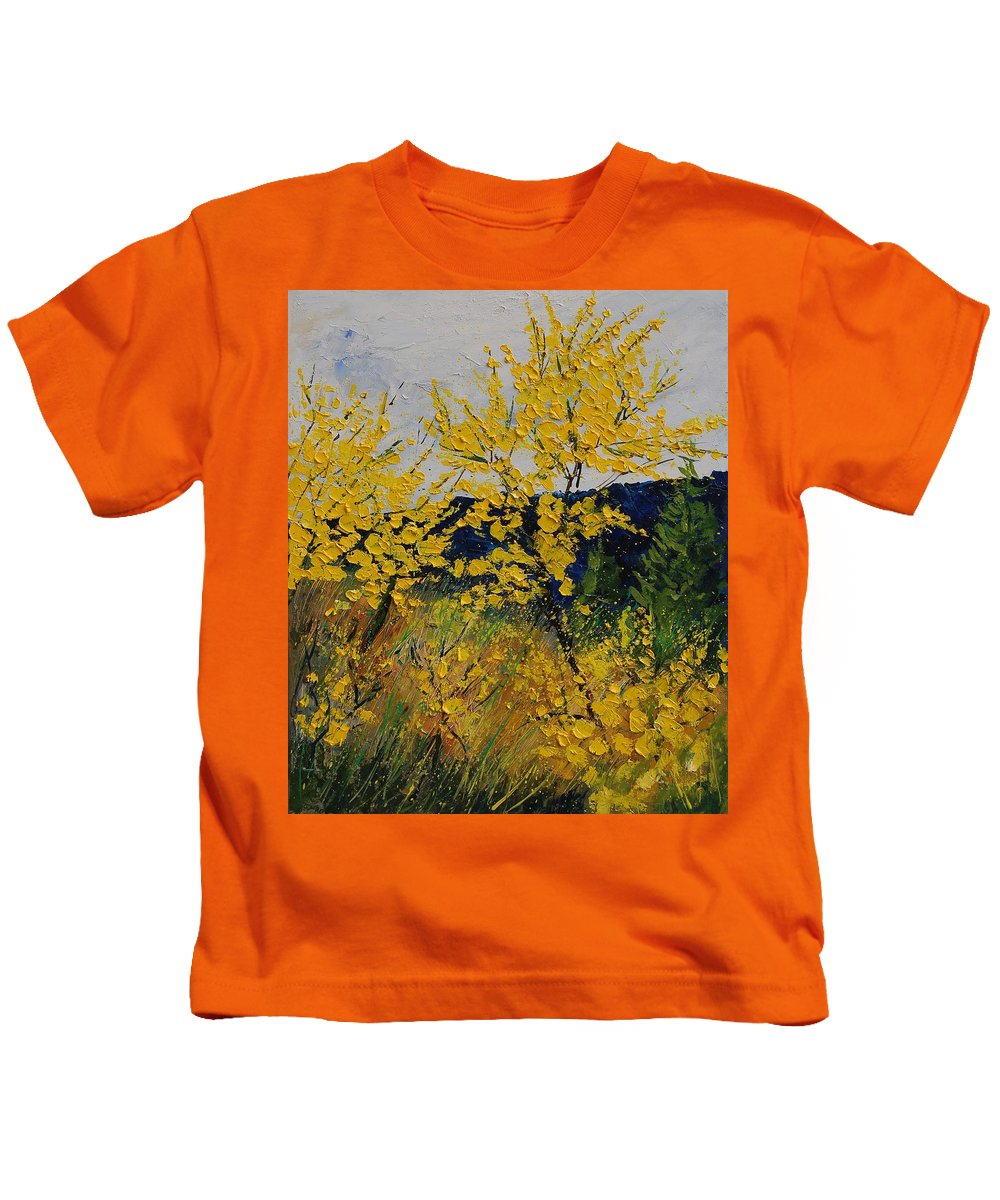 Flowers Kids T-Shirt featuring the painting Brooms by Pol Ledent