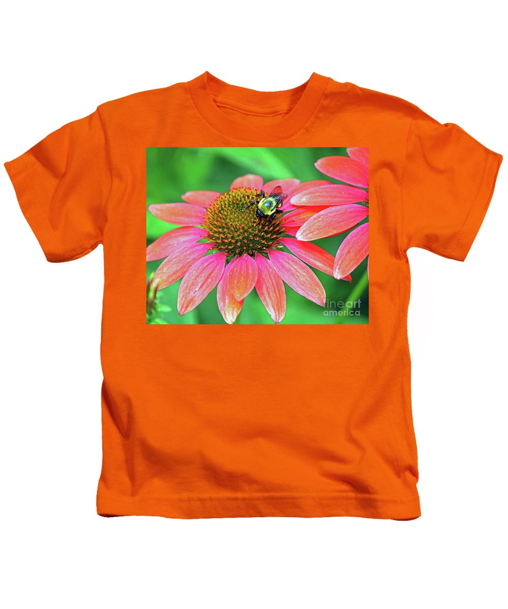 Flowers Kids T-Shirt featuring the photograph Bumble Bee On Flower by Steve Gass