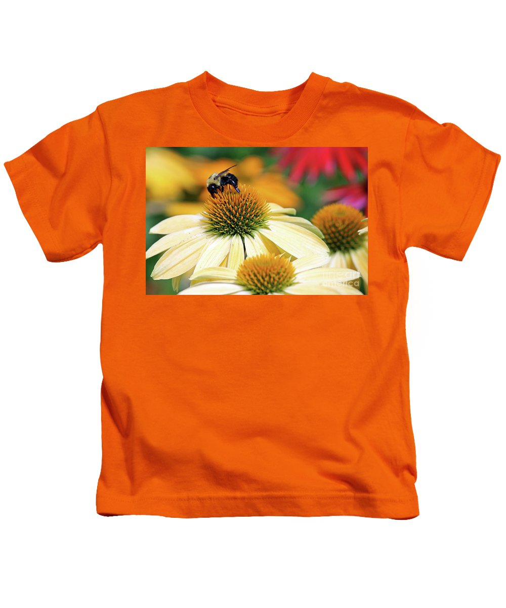 Flowers Kids T-Shirt featuring the photograph Bumble Bee On Top by Steve Gass