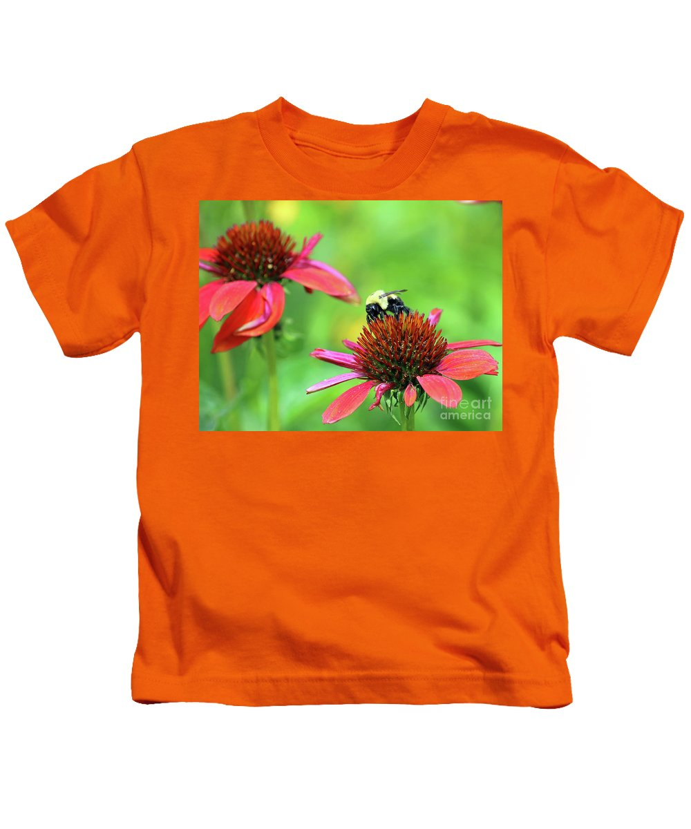 Flowers Kids T-Shirt featuring the photograph Bumble Bee by Steve Gass