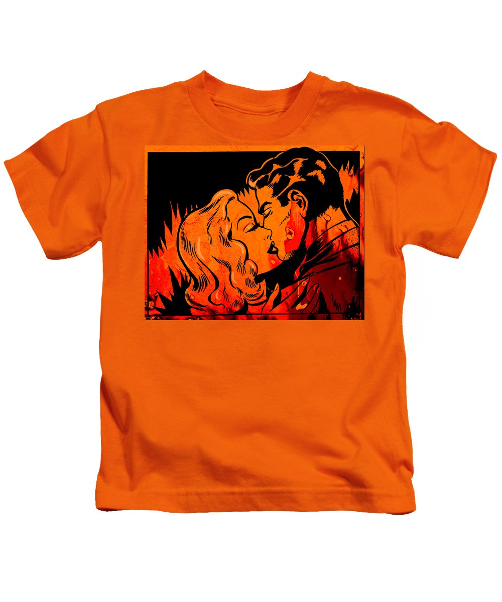 Comic Kids T-Shirt featuring the painting Burning Kiss Of Fire by Little Bunny Sunshine