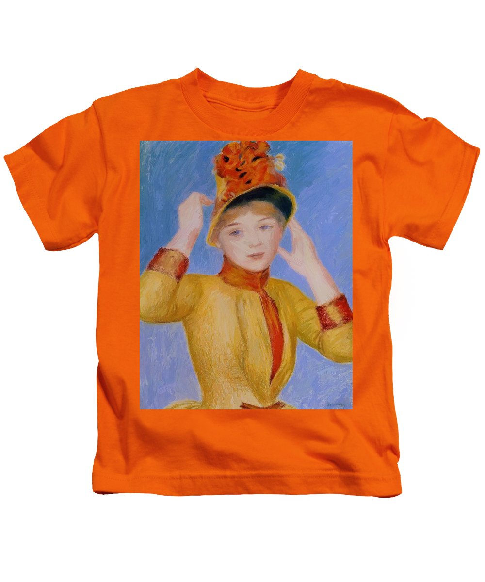 Bust Kids T-Shirt featuring the painting Bust Of A Woman Yellow Dress by Renoir PierreAuguste