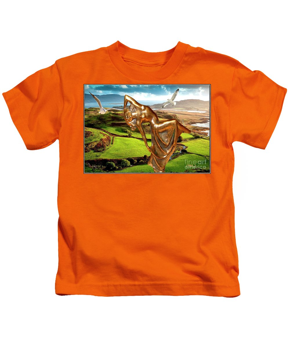Modern Painting Kids T-Shirt featuring the mixed media By The Sea 25 by Pemaro