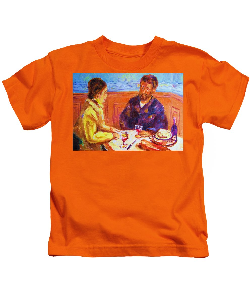 Cafes Kids T-Shirt featuring the painting Cafe Renoir by Carole Spandau