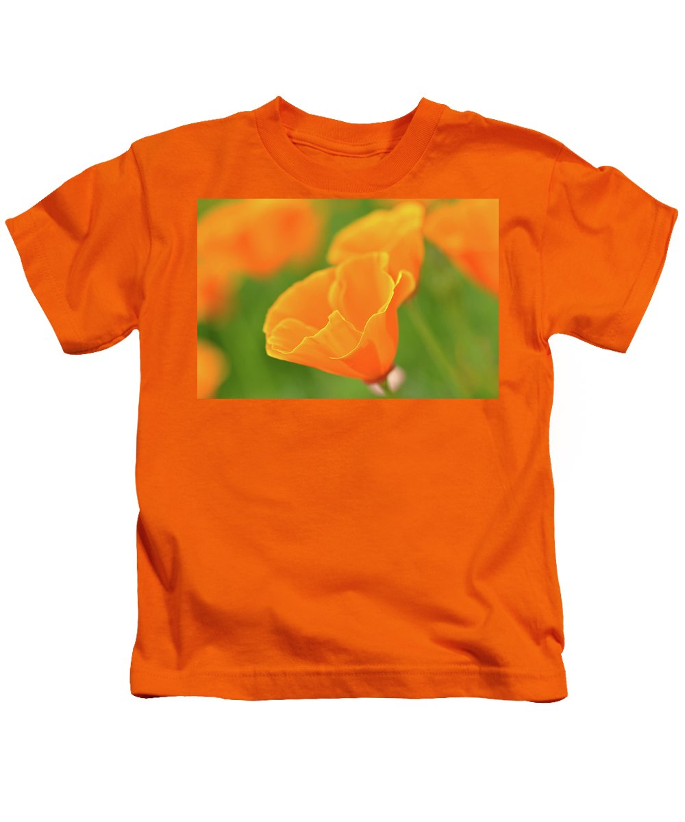 Flower Kids T-Shirt featuring the photograph California Spring Poppy Macro Close Up by Brandon Bourdages