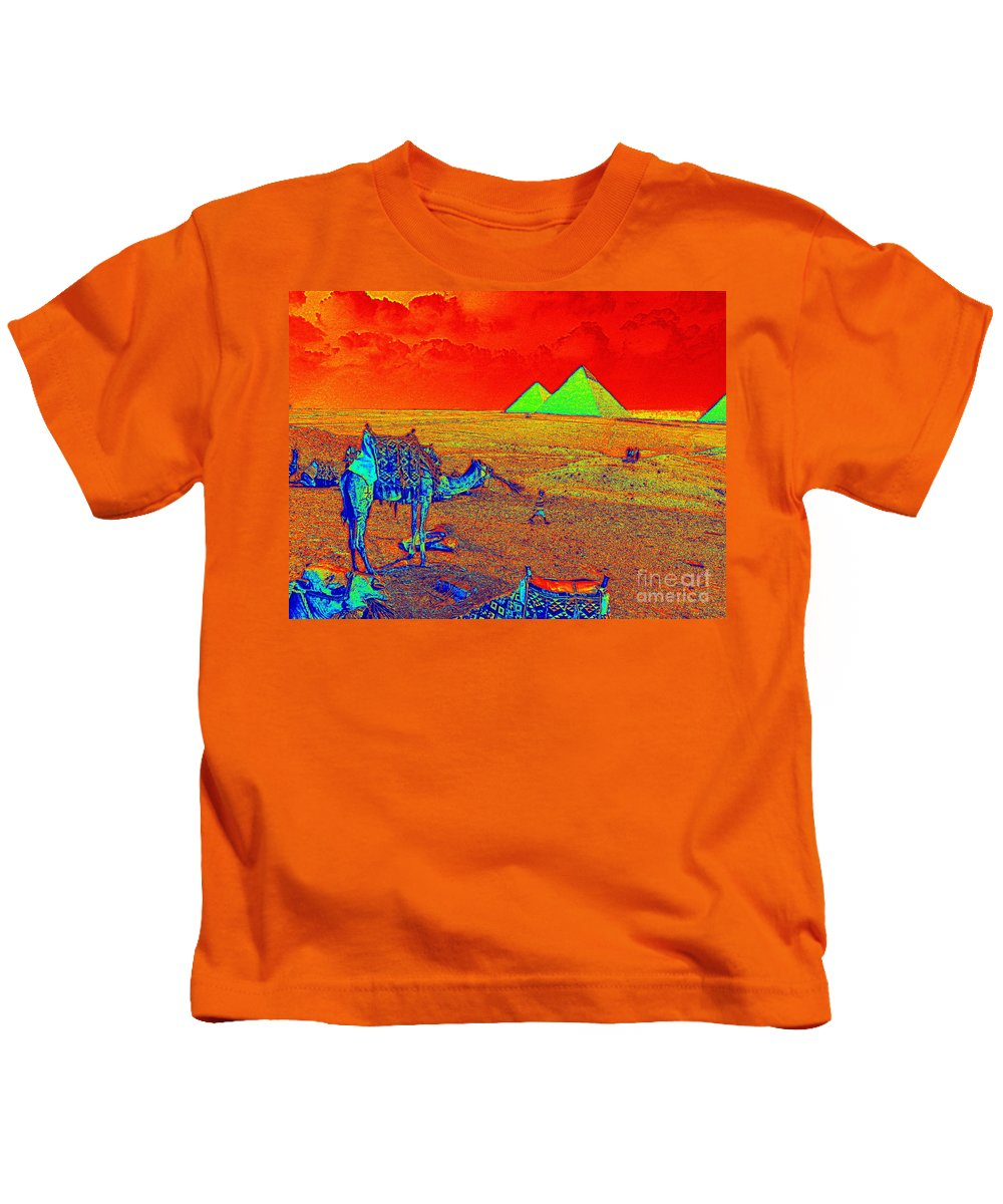 Camels Pyramids Giza Egypt Landscape Kids T-Shirt featuring the digital art Camels At Giza by Bruce Thompson