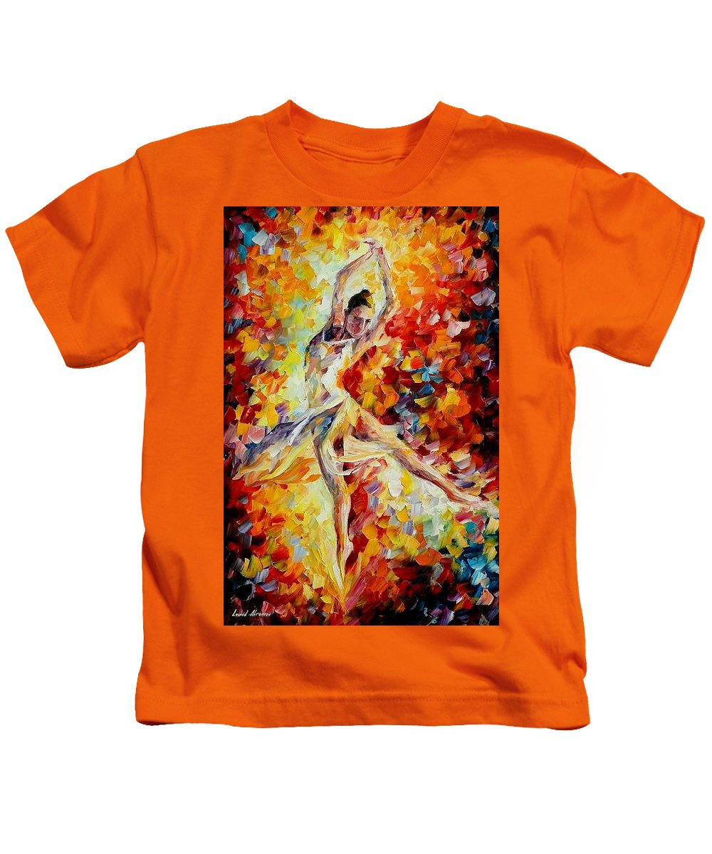 Danse Kids T-Shirt featuring the painting Candle Fire by Leonid Afremov