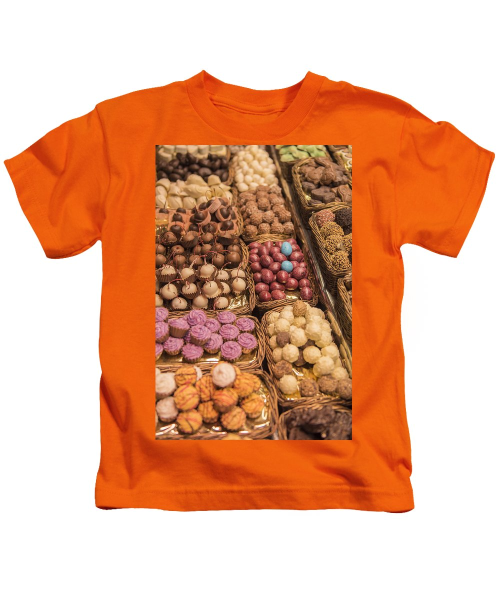 Chocolate Kids T-Shirt featuring the photograph Candy Delights - La Bouqueria - Barcelona Spain by Jon Berghoff