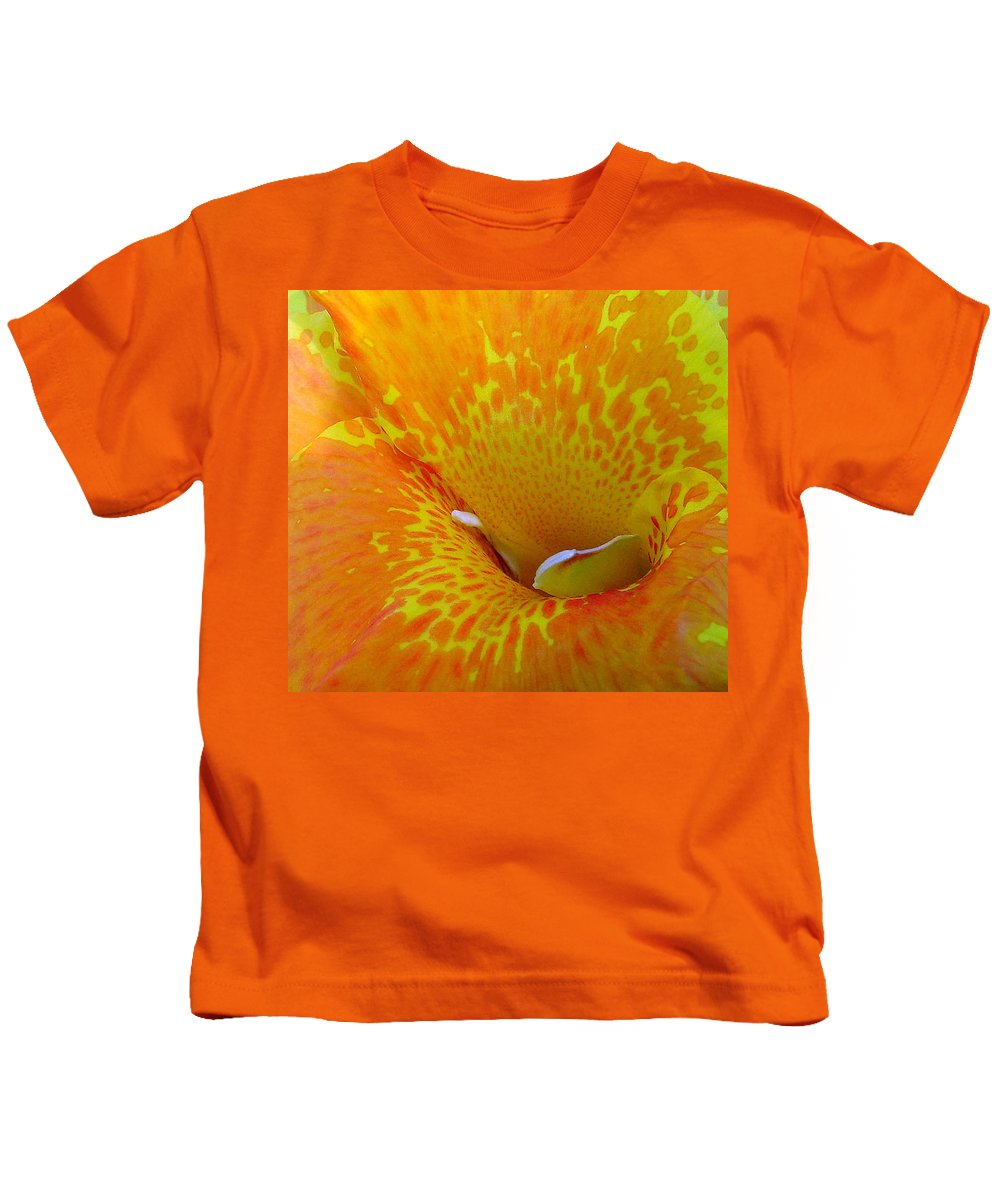Orange Yellow Flower Kids T-Shirt featuring the photograph Canna by Luciana Seymour