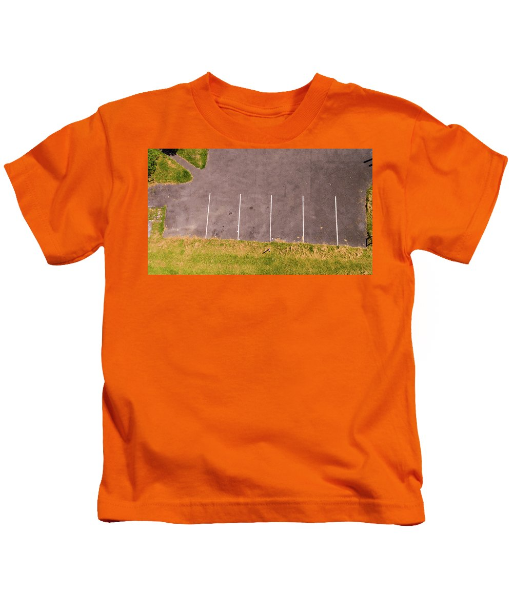 Abstract Kids T-Shirt featuring the photograph Car Parking Bays by Kelly Jenkins