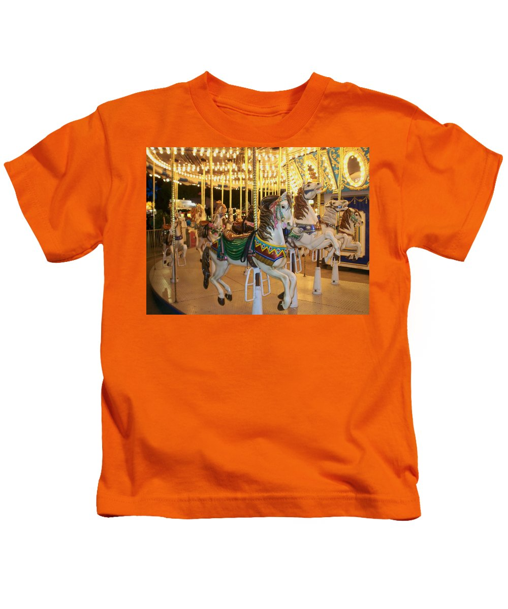 Carousel Horse Kids T-Shirt featuring the photograph Carousel Horse 4 by Anita Burgermeister