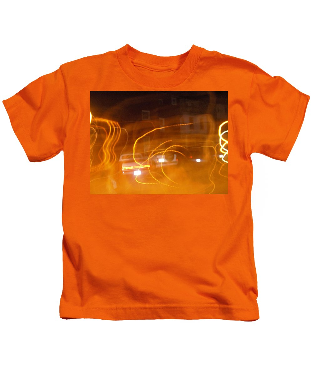 Photograph Kids T-Shirt featuring the photograph Cars On Fire by Thomas Valentine