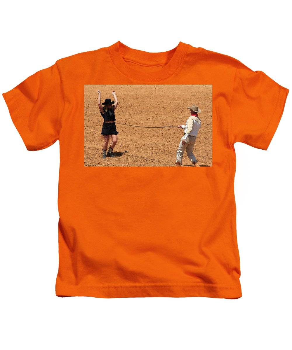 Western Art Kids T-Shirt featuring the photograph Catch And Release by Kim Henderson