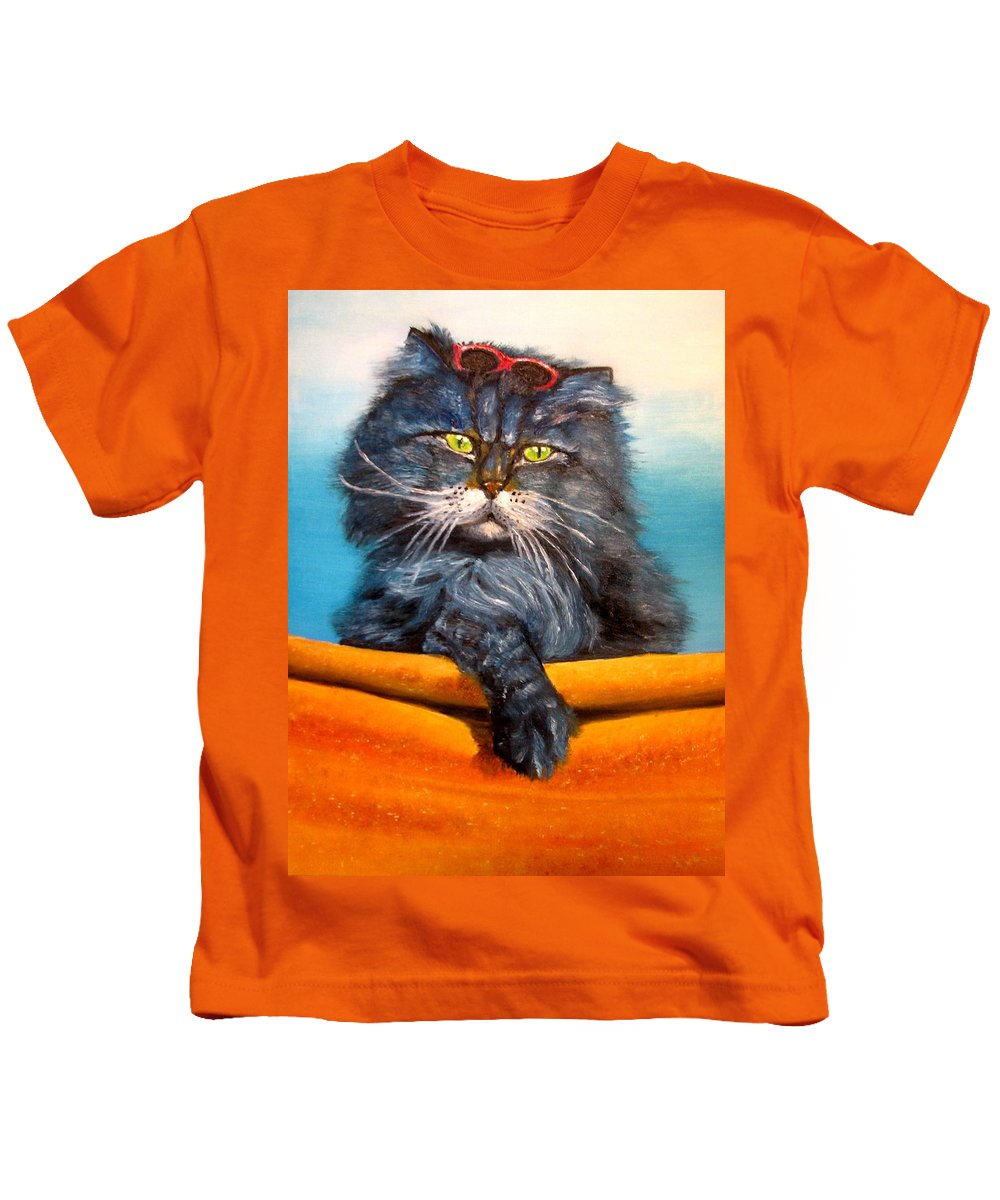 Cat Kids T-Shirt featuring the painting Cat.go To Swim.original Oil Painting by Natalja Picugina
