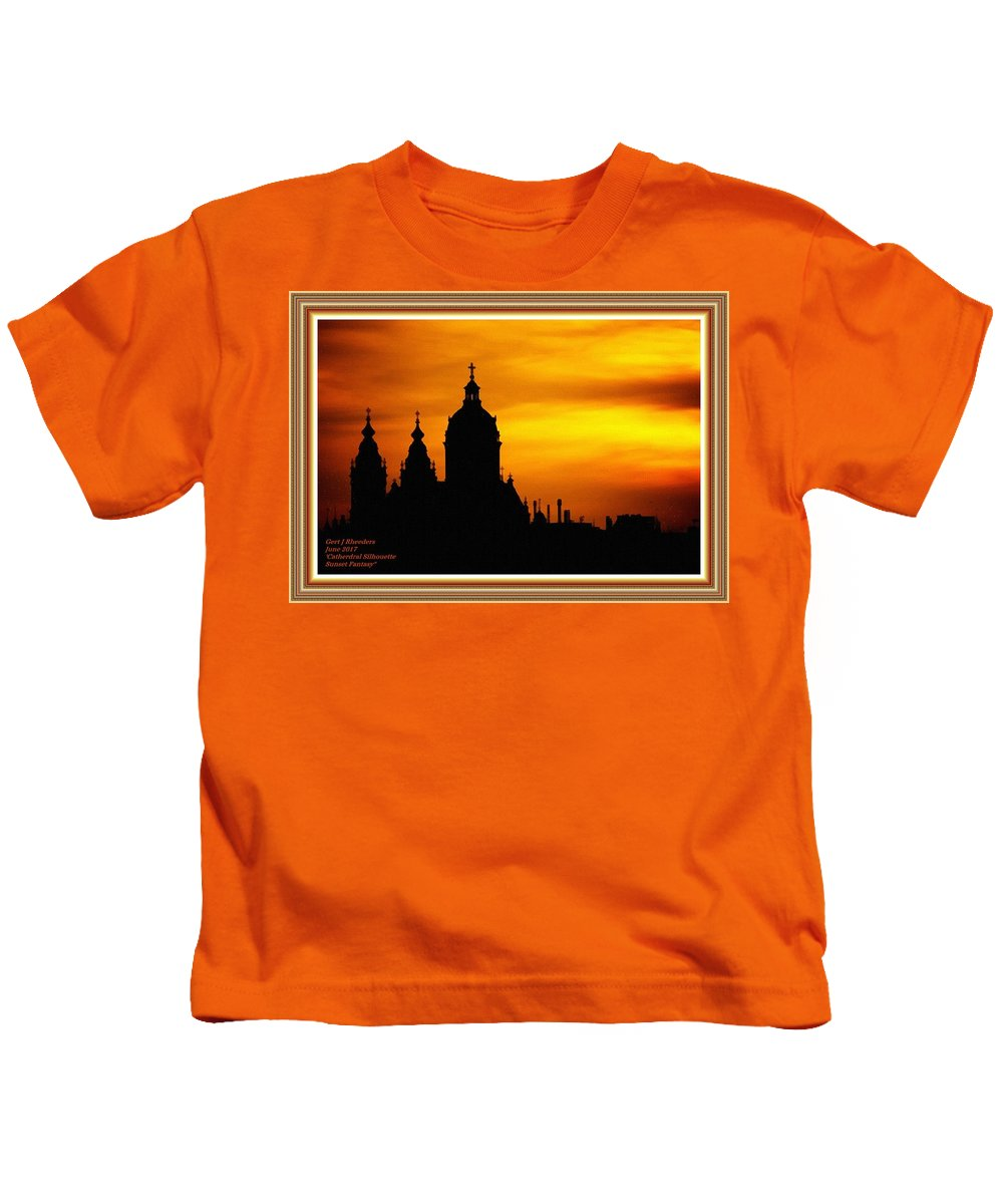 Cathedral.sunset Kids T-Shirt featuring the digital art Cathedral Silhouette Sunset Fantasy L A With Decorative Ornate Printed Frame. by Gert J Rheeders
