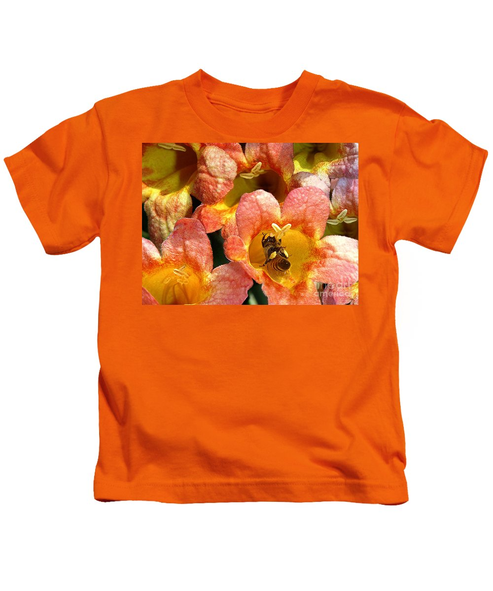 Nature Kids T-Shirt featuring the photograph Caught Up In The Work by Lucyna A M Green