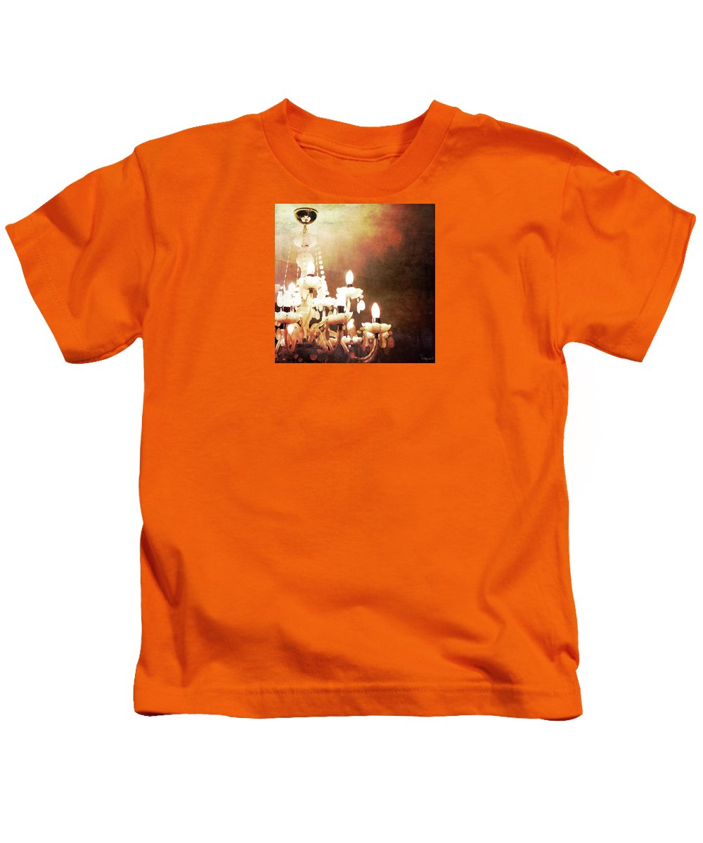 Chandelier Light Photo Stream Kids T-Shirt featuring the digital art Chandelier by Raphaela Ilgenfritz