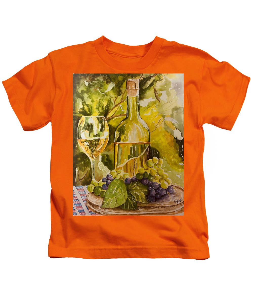 Wine Kids T-Shirt featuring the painting Chardonnay At The Vineyard by Sharon Reed