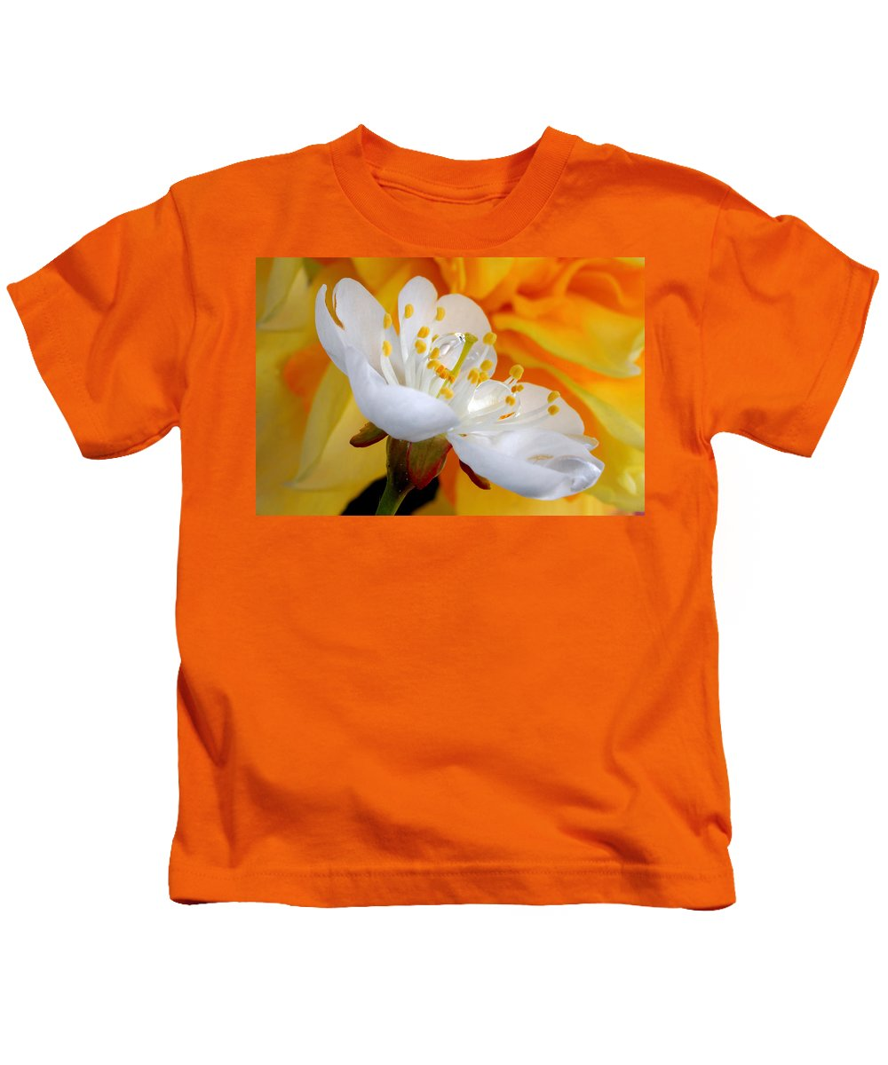 Microcosm Kids T-Shirt featuring the photograph Cherry Flower In The Spring, In Profile by Yuri Hope