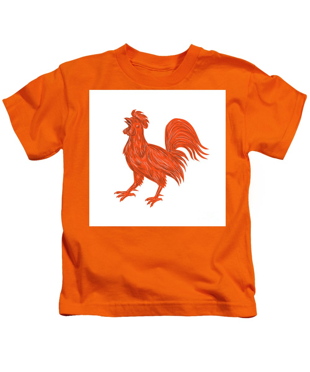 Drawing Kids T-Shirt featuring the digital art Chicken Rooster Crowing Drawing by Aloysius Patrimonio