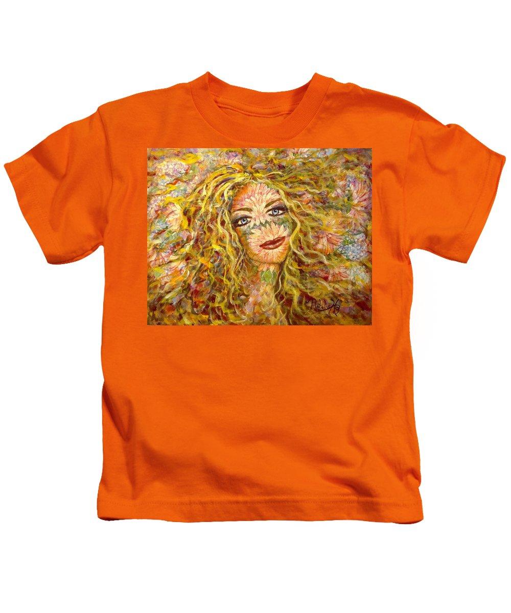 Chrysanthemum Kids T-Shirt featuring the painting Chrysanthemum Girl by Natalie Holland