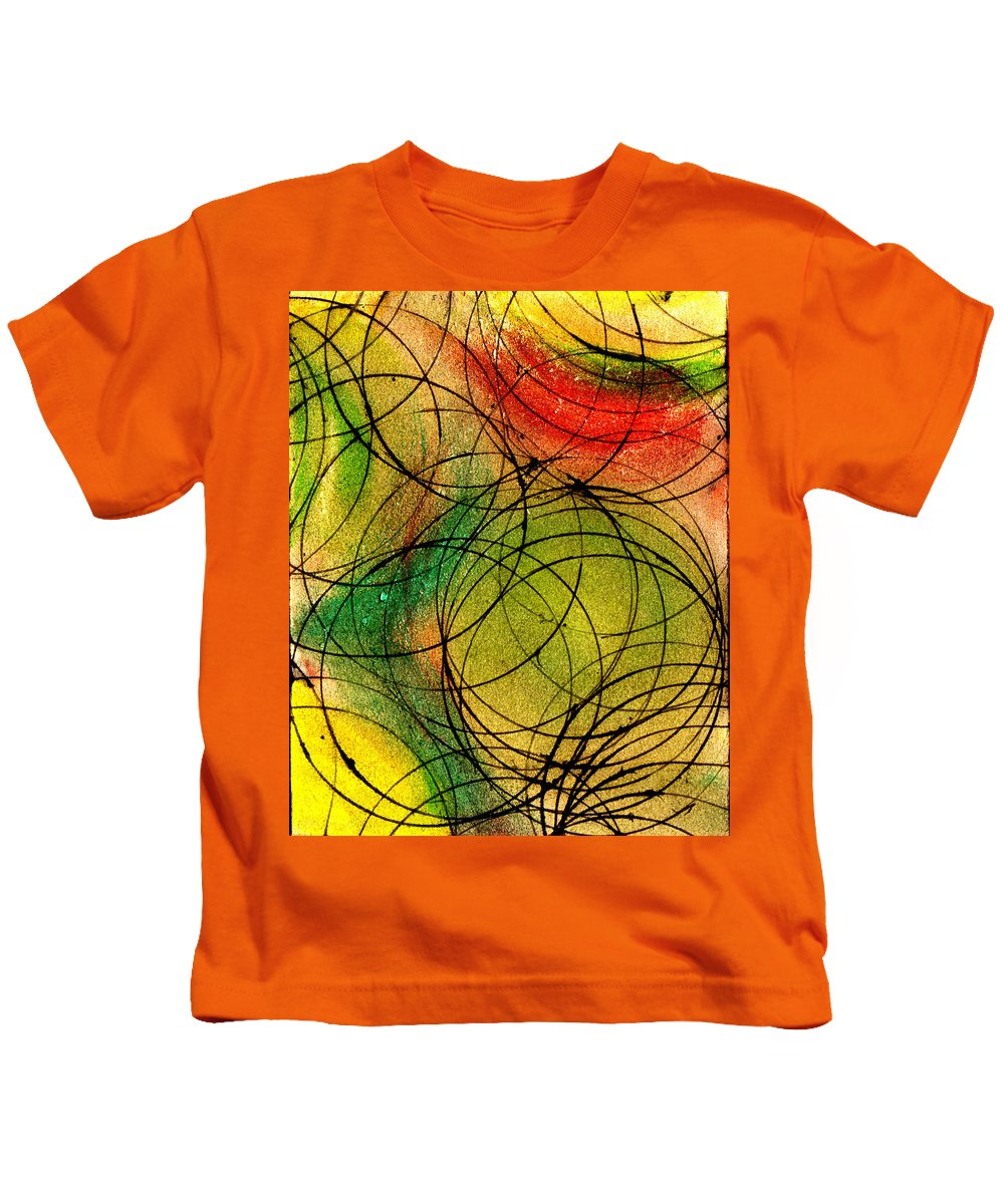 Abstract Kids T-Shirt featuring the painting Circles by Wayne Potrafka