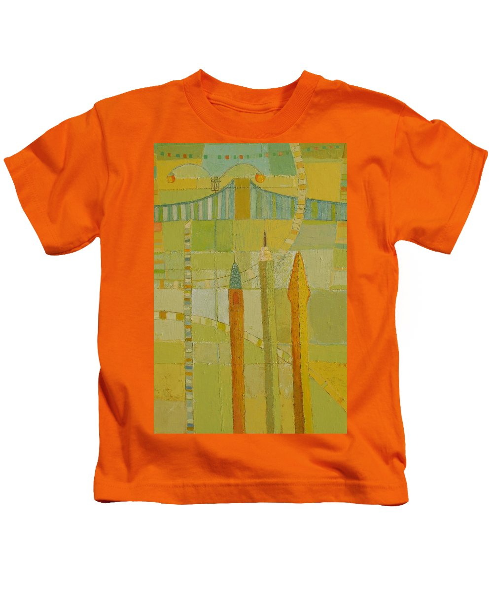 Nyc Kids T-Shirt featuring the painting City Icons by Habib Ayat