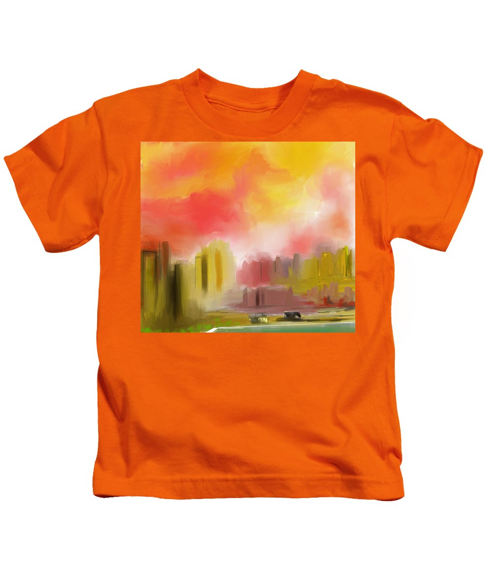 Digital Painting Kids T-Shirt featuring the digital art Cityscape by David Lane