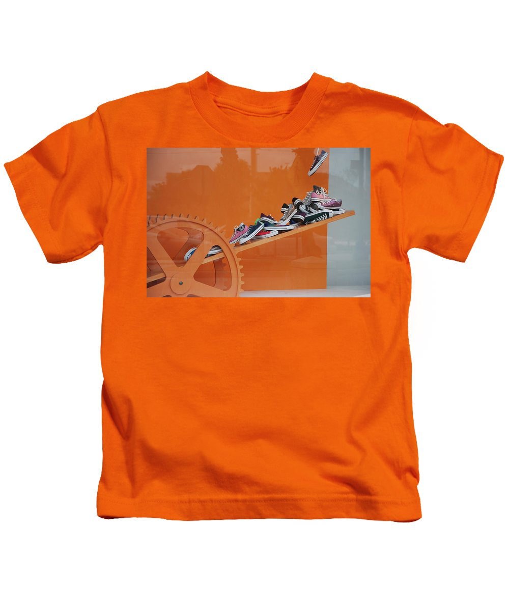Orange Kids T-Shirt featuring the photograph Cogs N Converse by Rob Hans